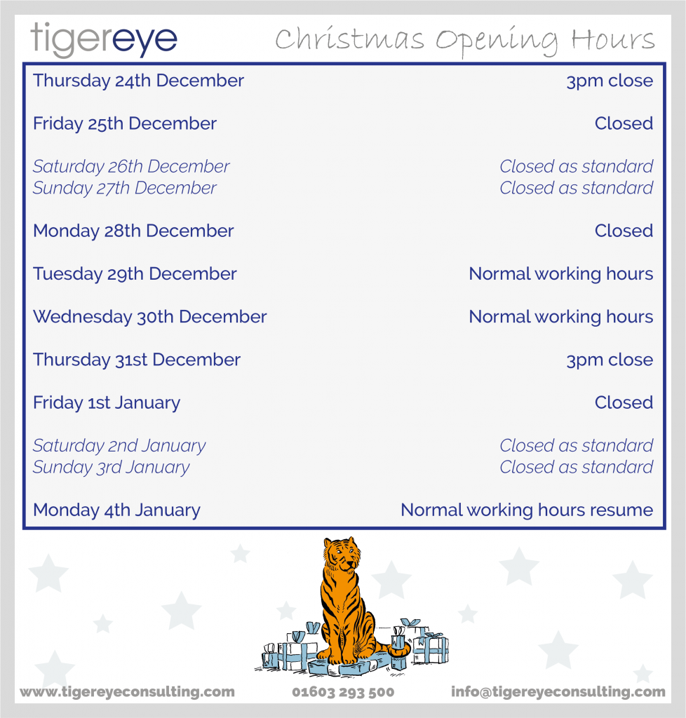 Tiger Eye Christmas Opening Hours for all iManage Services